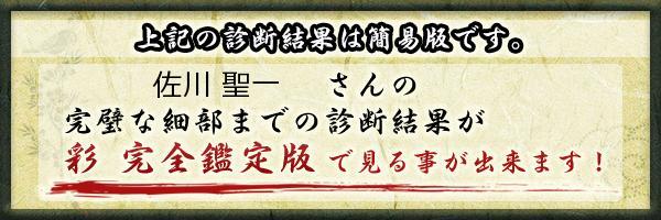 佐川 聖一さんの診断結果 - 姓名判断 彩